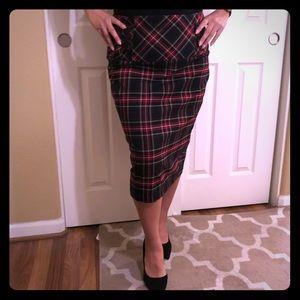 Torrid Pencil Skirt Red Black Plaid Plus Size 14